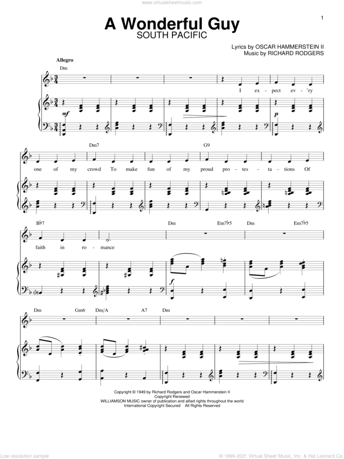 A Wonderful Guy sheet music for voice and piano by Rodgers & Hammerstein, South Pacific (Musical), Oscar II Hammerstein and Richard Rodgers, intermediate skill level