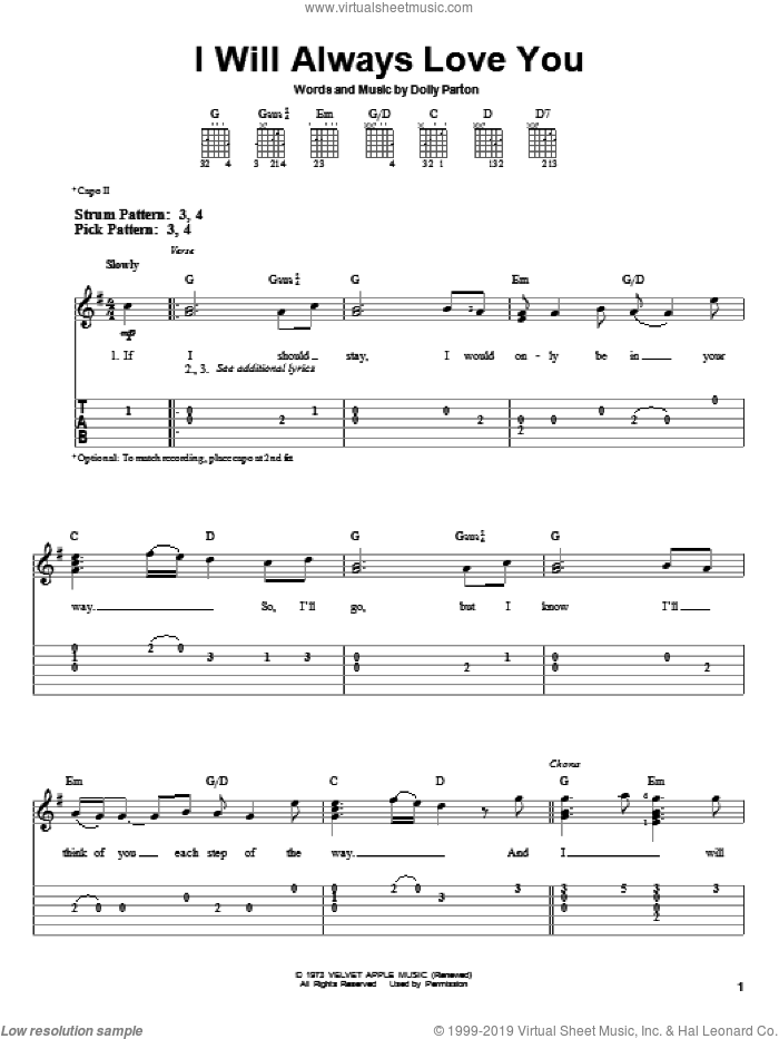 I Will Always Love You sheet music for guitar solo (easy tablature) by Dolly Parton and Whitney Houston, easy guitar (easy tablature)