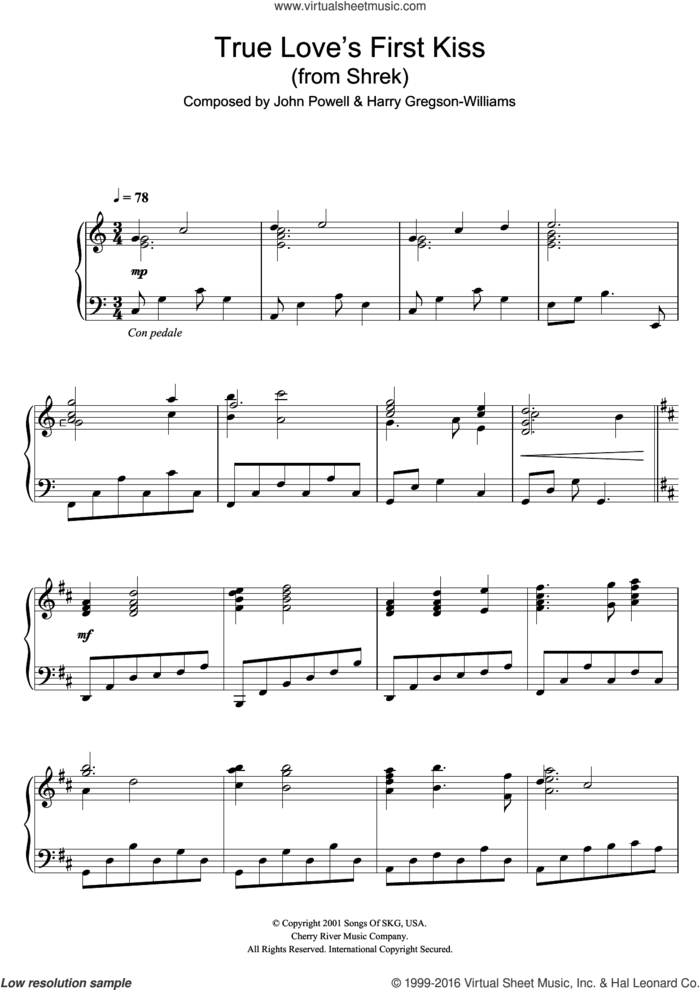 Shrek (True Love's First Kiss) sheet music for piano solo by Harry Gregson-Williams and John Powell, Harry Gregson-Williams and John Powell, intermediate skill level