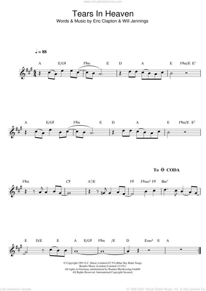 Tears In Heaven sheet music for alto saxophone solo by Eric Clapton and Will Jennings, intermediate skill level