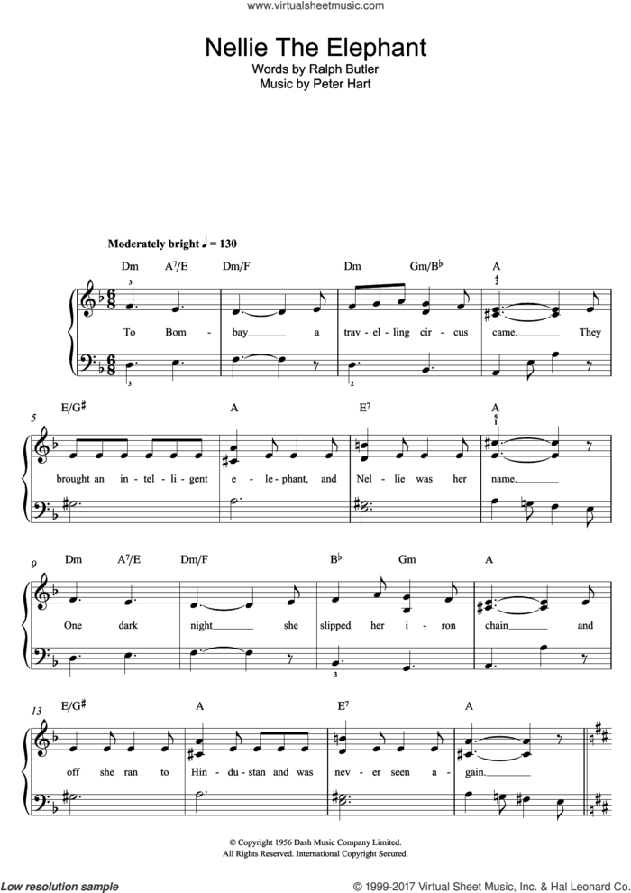 Nellie The Elephant sheet music for piano solo by Peter Hart and Ralph Butler, easy skill level