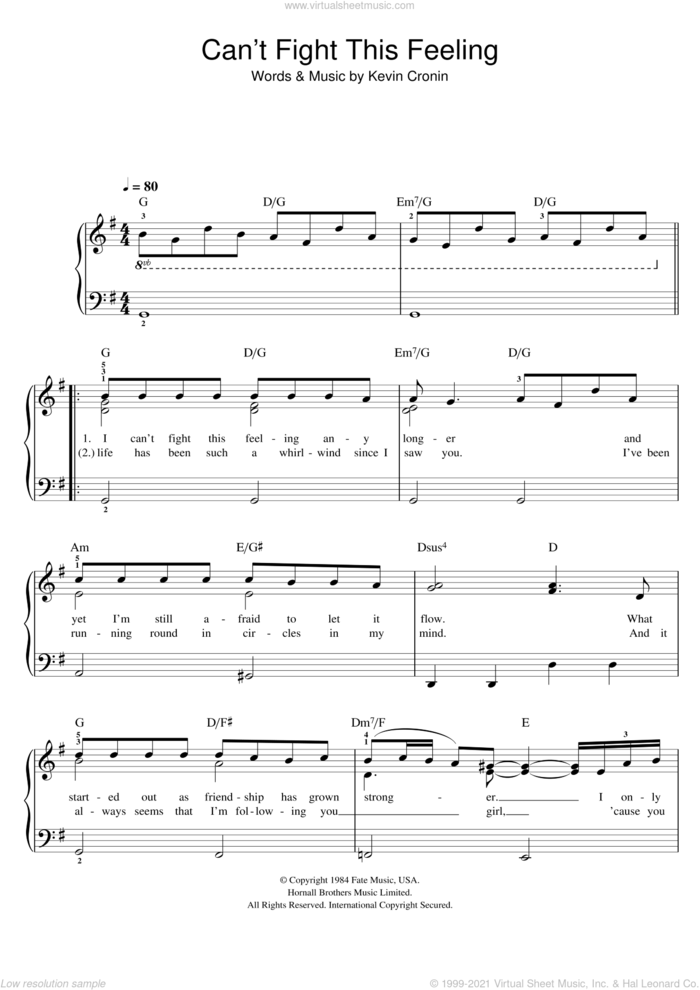 Can't Fight This Feeling sheet music for piano solo by Glee Cast, REO Speedwagon and Kevin Cronin, easy skill level