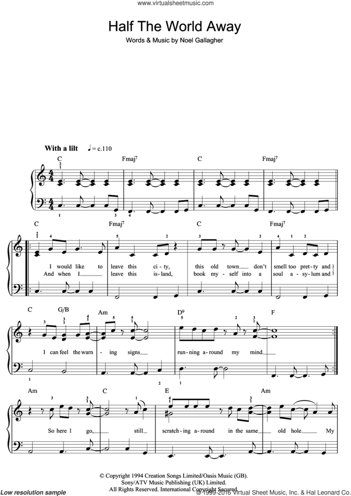 Half The World Away sheet music for piano solo (beginners) by Oasis and Noel Gallagher, beginner piano (beginners)