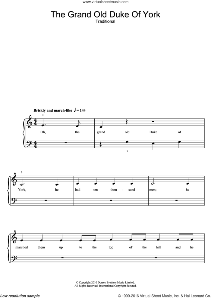 The Grand Old Duke Of York sheet music for piano solo (5-fingers) by Traditional Nursery Rhyme and Miscellaneous, beginner piano (5-fingers)