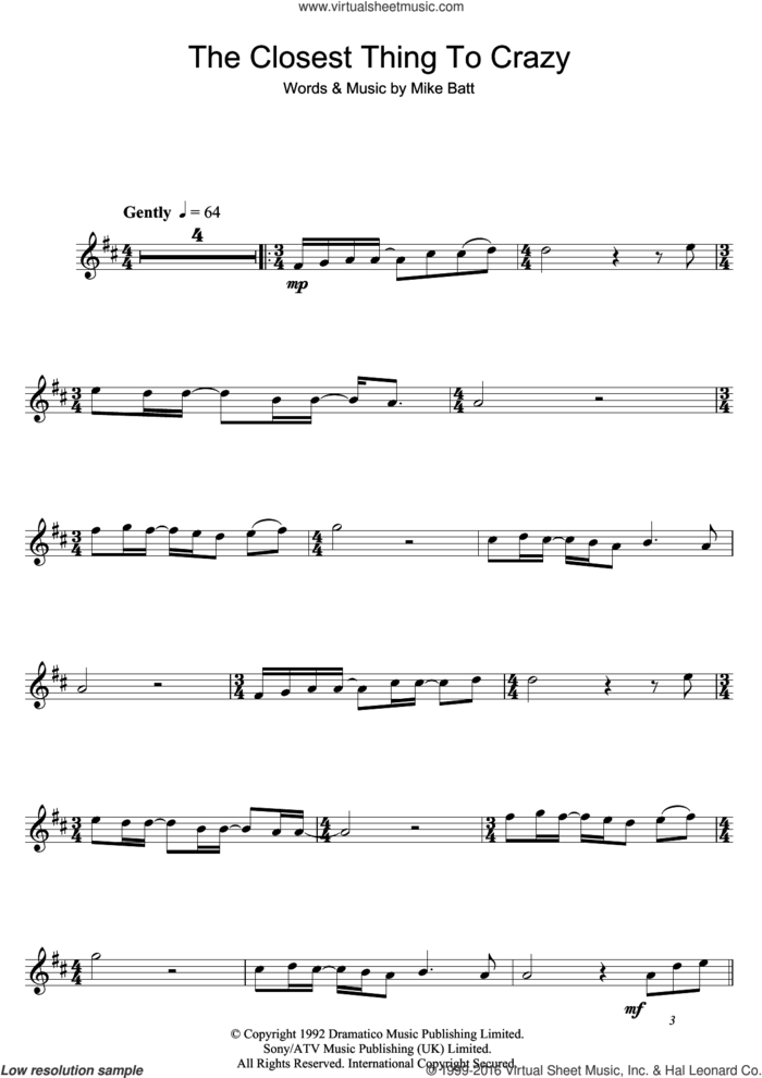 The Closest Thing To Crazy sheet music for alto saxophone solo by Katie Melua and Mike Batt, intermediate skill level