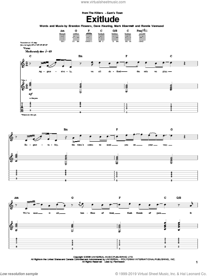 Exitlude sheet music for guitar (tablature) by The Killers, Brandon Flowers, Dave Keuning, Mark Stoermer and Ronnie Vannucci, intermediate skill level