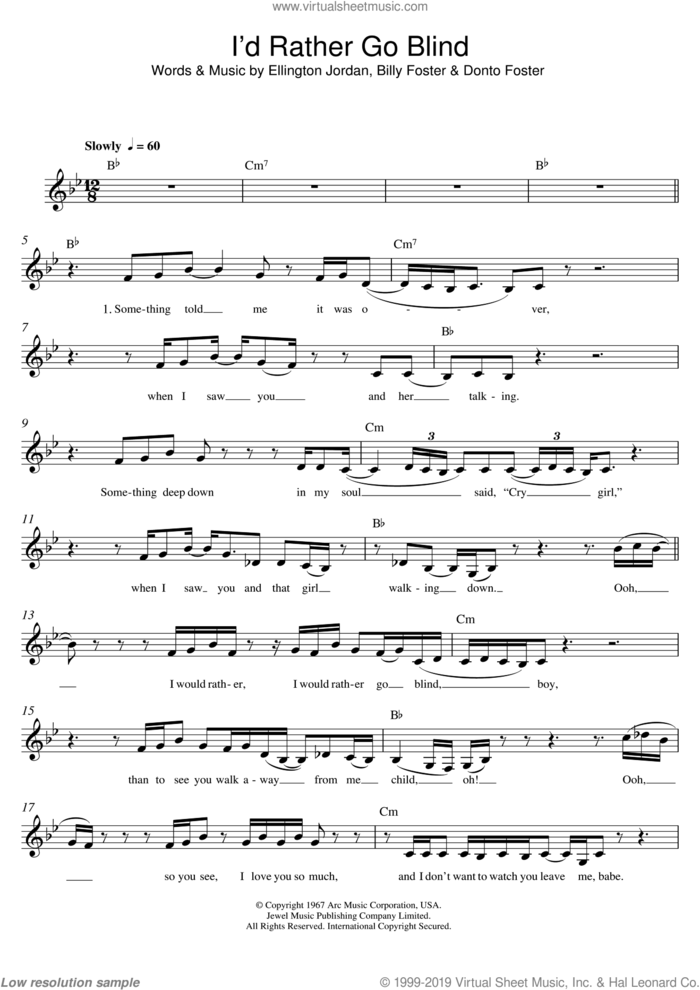 I'd Rather Go Blind sheet music for voice and other instruments (fake book) by Etta James, Billy Foster, Donto Foster and Ellington Jordan, intermediate skill level