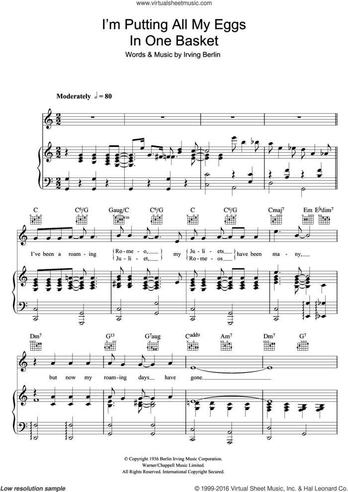 I'm Putting All My Eggs In One Basket sheet music for voice, piano or guitar by Irving Berlin and Ella Fitzgerald, intermediate skill level