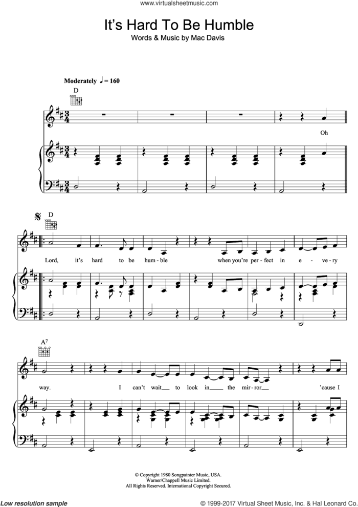 It's Hard To Be Humble sheet music for voice, piano or guitar by Mac Davis, intermediate skill level
