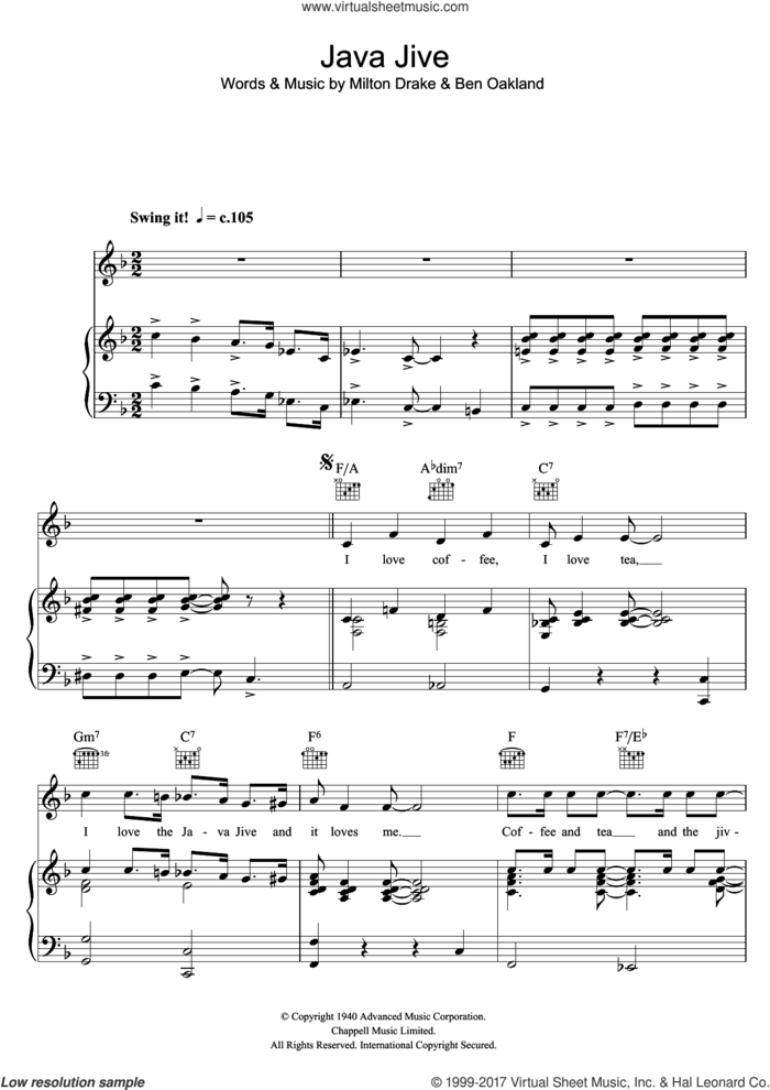 Java Jive sheet music for voice, piano or guitar by The Ink Spots, Ben Oakland and Milton Drake, intermediate skill level