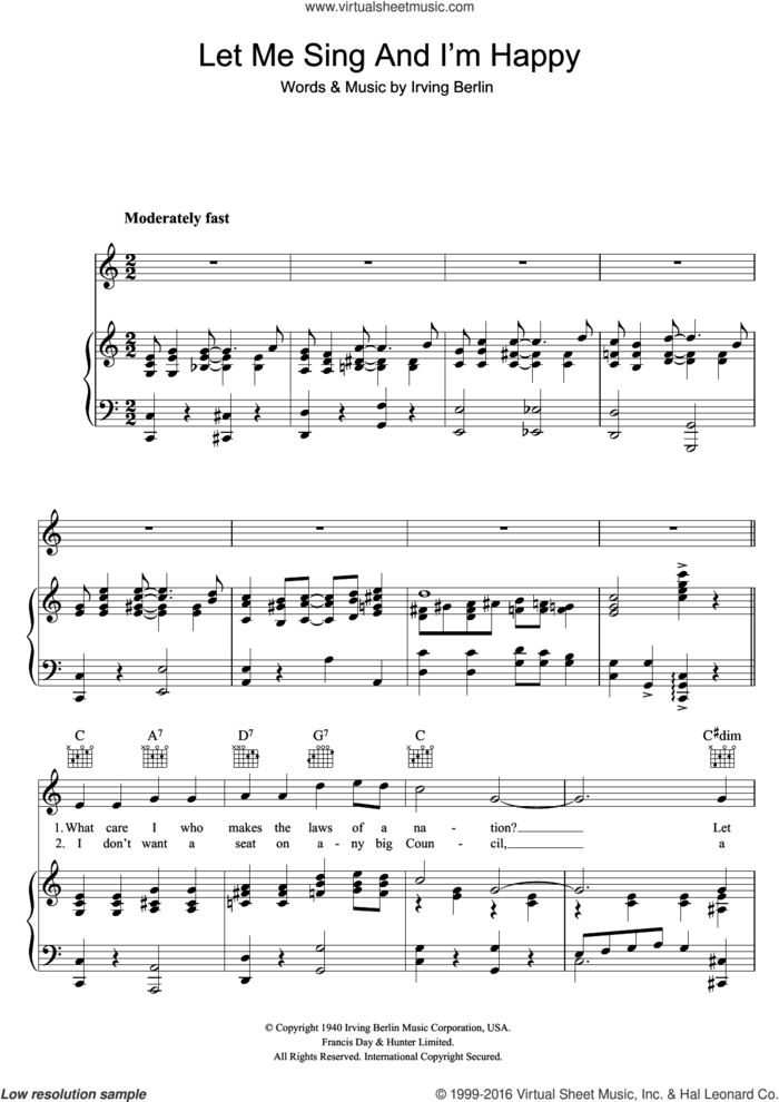 Let Me Sing And I'm Happy sheet music for voice, piano or guitar by Al Jolson and Irving Berlin, intermediate skill level