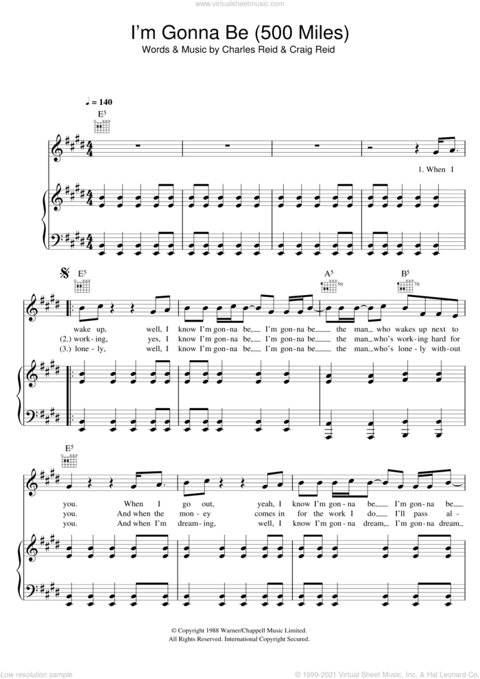 I'm Gonna Be (500 Miles) sheet music for voice, piano or guitar by The Proclaimers, Charles Reid and Craig Reid, intermediate skill level