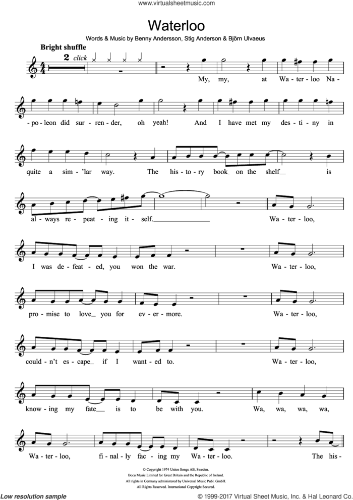 Waterloo sheet music for recorder solo by ABBA, Benny Andersson, Bjorn Ulvaeus and Stig Anderson, intermediate skill level