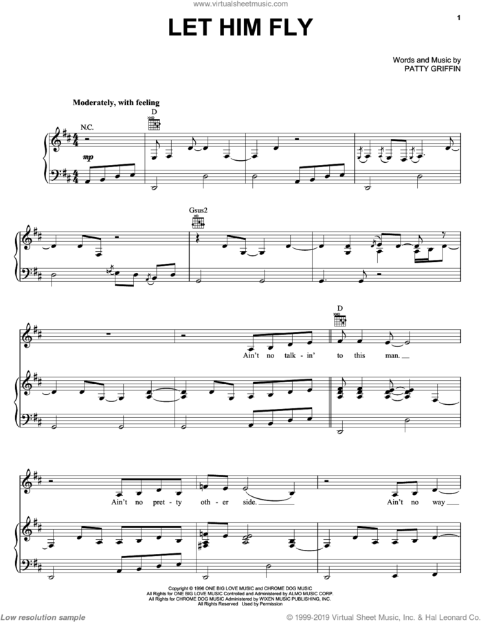 Let Him Fly sheet music for voice, piano or guitar by Jessica Simpson, Dixie Chicks, The Chicks and Patty Griffin, intermediate skill level