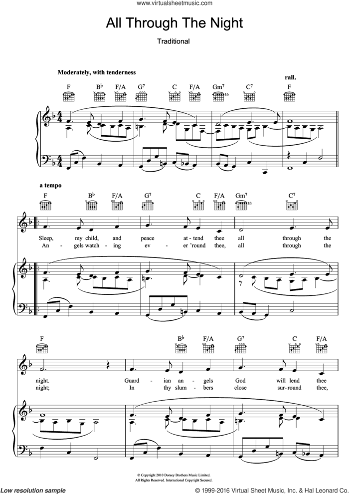 All Through The Night sheet music for voice, piano or guitar, intermediate skill level