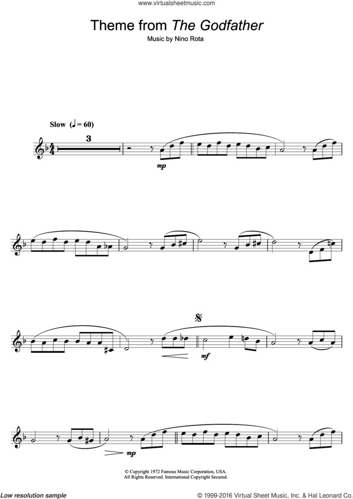 Theme from The Godfather sheet music for alto saxophone solo by Nino Rota, intermediate skill level