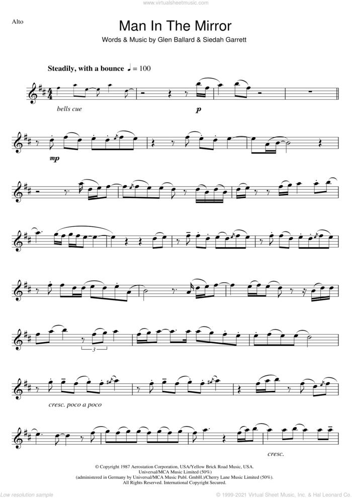 Man In The Mirror sheet music for alto saxophone solo by Michael Jackson, Glen Ballard and Siedah Garrett, intermediate skill level