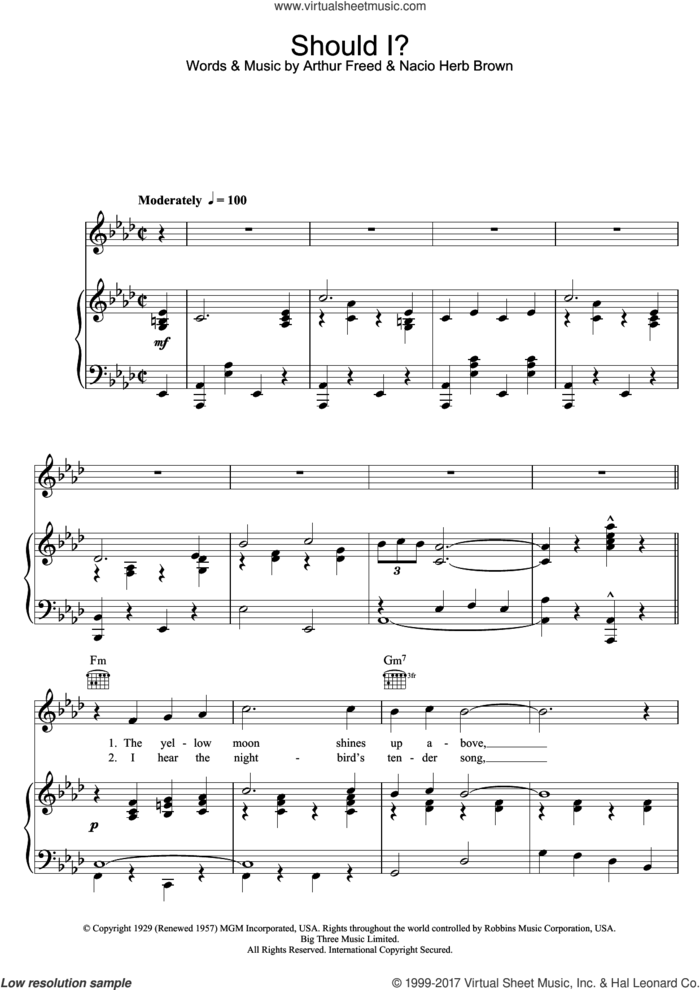 Should I sheet music for voice, piano or guitar by Frank Sinatra, Arthur Freed and Nacio Herb Brown, intermediate skill level