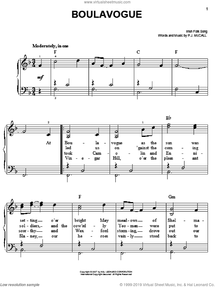 Boulavogue sheet music for piano solo  and P.J. McCall, easy skill level