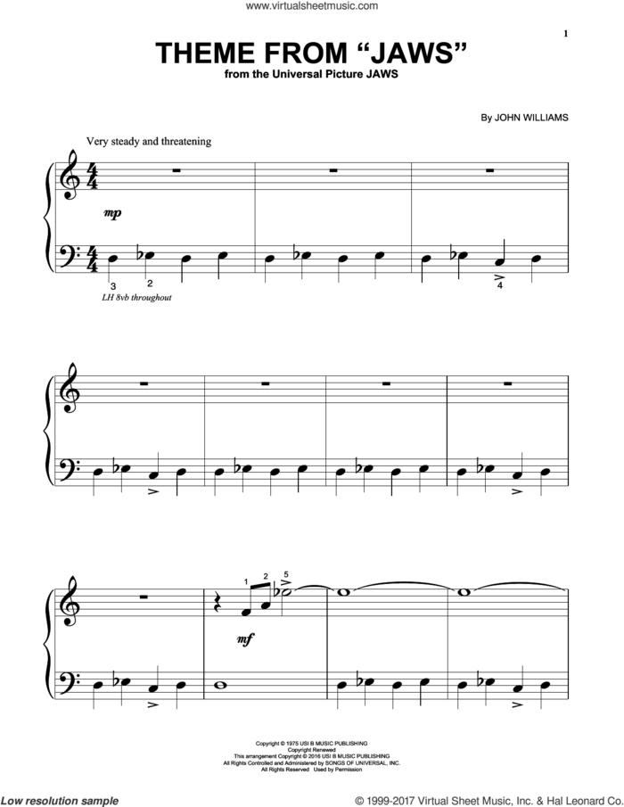 Theme from Jaws sheet music for piano solo (big note book) by John Williams, easy piano (big note book)