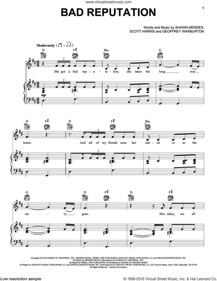 Bad Reputation sheet music for voice, piano or guitar by Shawn Mendes, Geoffrey Warburton and Scott Harris, intermediate skill level