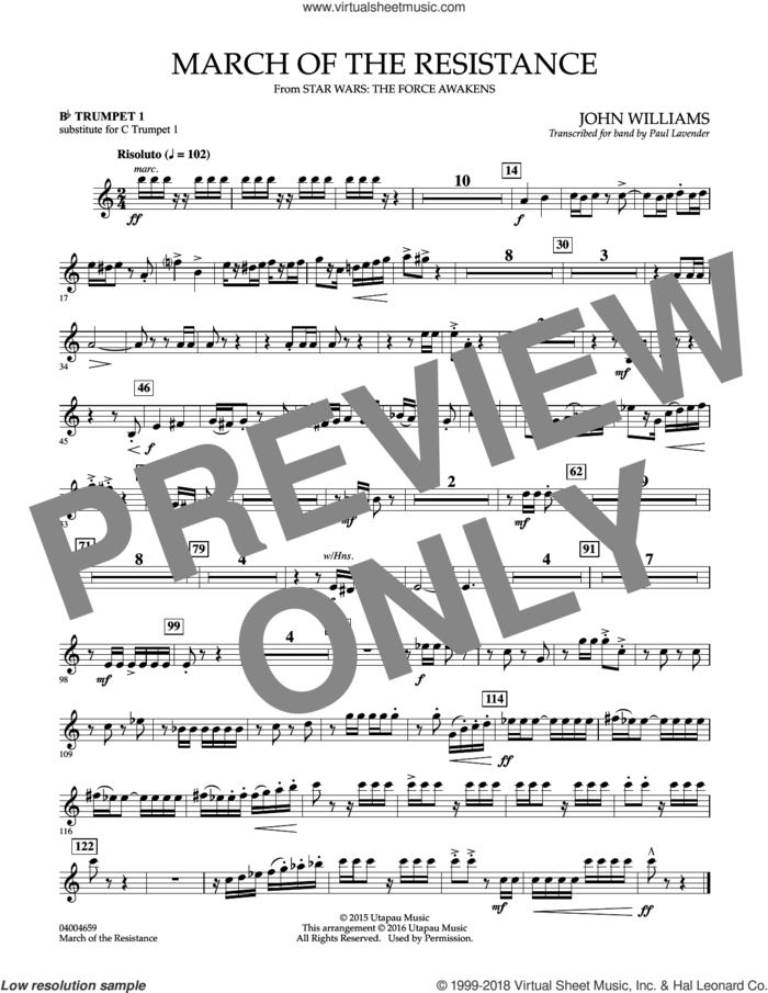 March of the Resistance, Bb trumpet 1 sub. c tpt. 1 sheet music for concert band (- Bb trumpet 1, sub. c tpt. 1) by John Williams and Paul Lavender, classical score, intermediate skill level