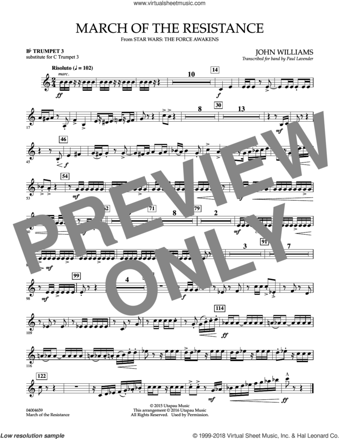 March of the Resistance, Bb trumpet 1 sub. c tpt. 1 sheet music for concert band (- Bb trumpet 3, sub. c tpt. 3) by John Williams and Paul Lavender, classical score, intermediate skill level
