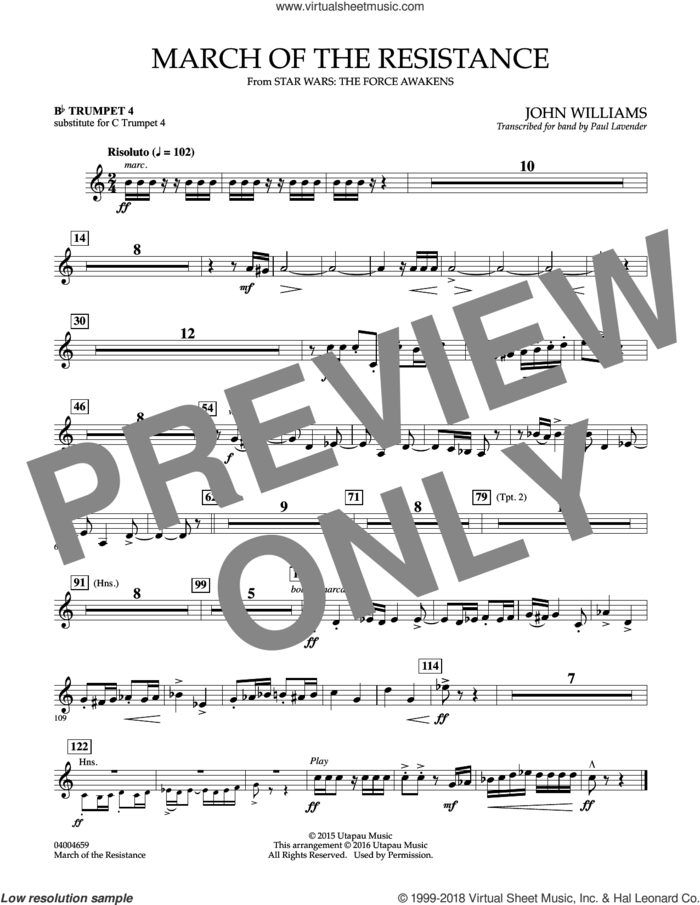 March of the Resistance, Bb trumpet 1 sub. c tpt. 1 sheet music for concert band (- Bb trumpet 4, sub. c tpt. 4) by John Williams and Paul Lavender, classical score, intermediate skill level