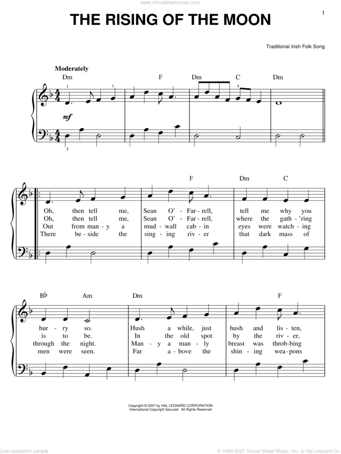 The Rising Of The Moon sheet music for piano solo, easy skill level