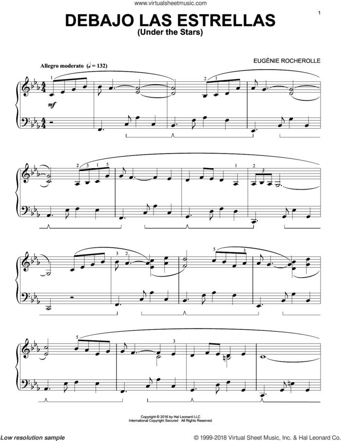 Debajo Las Estrellas sheet music for piano solo by Eugenie Rocherolle, intermediate skill level