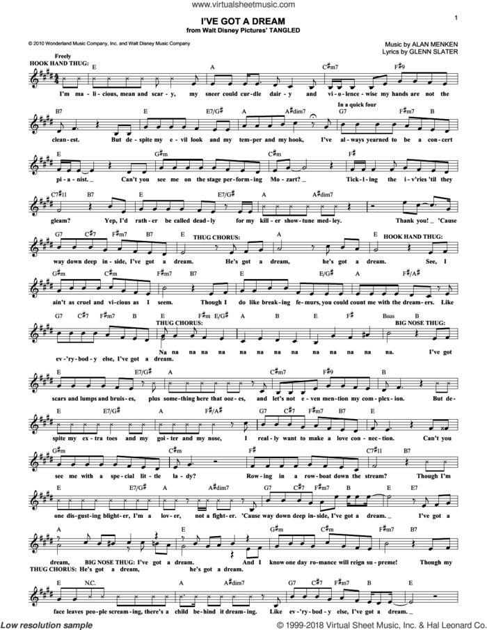 I've Got A Dream (from Disney's Tangled) sheet music for voice and other instruments (fake book) by Glenn Slater and Alan Menken, intermediate skill level