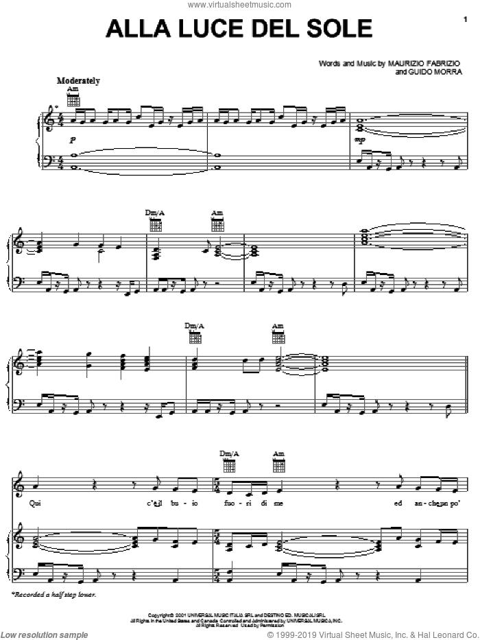 Alla Luce Del Sole sheet music for voice, piano or guitar by Josh Groban, Guido Morra and Maurizio Fabrizio, intermediate skill level