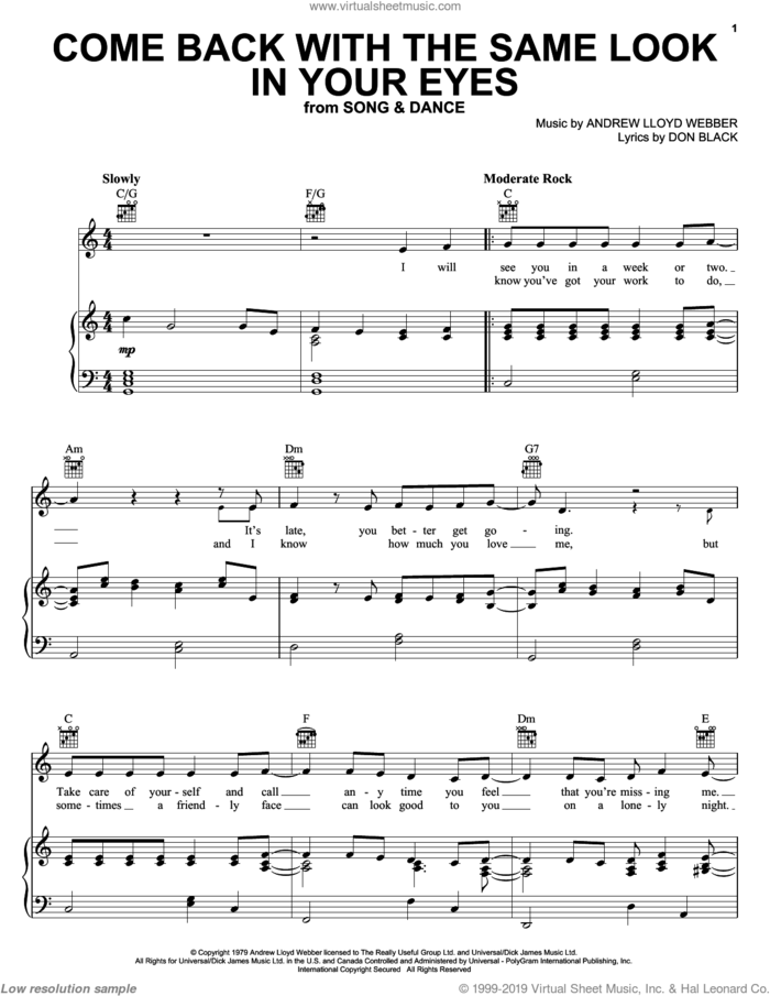 Come Back With The Same Look In Your Eyes sheet music for voice, piano or guitar by Andrew Lloyd Webber, Bernadette Peters, Song And Dance (Musical) and Don Black, intermediate skill level