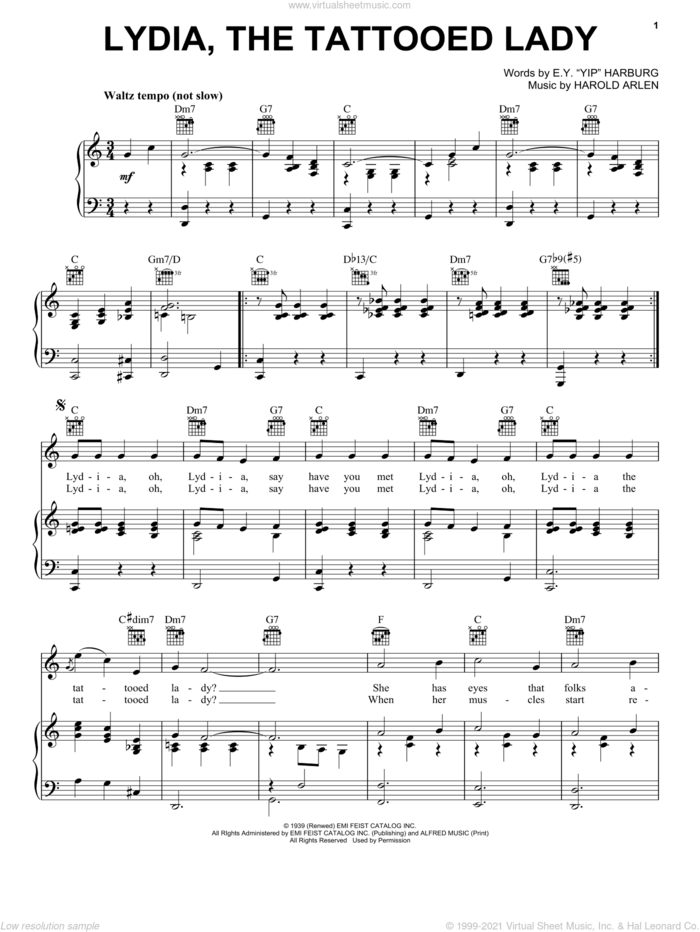 Lydia The Tattooed Lady sheet music for voice, piano or guitar by Harold Arlen and E.Y. Harburg, intermediate skill level