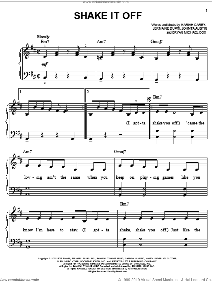 Shake It Off sheet music for piano solo by Mariah Carey, Bryan Michael Cox, Jermaine Dupri and Johnta Austin, easy skill level