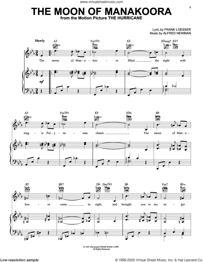 The Moon Of Manakoora sheet music for voice, piano or guitar by Alfred Newman and Frank Loesser, intermediate skill level