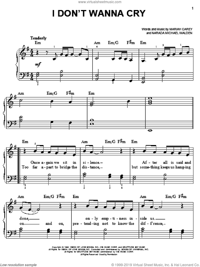 I Don't Wanna Cry sheet music for piano solo by Mariah Carey and Narada Michael Walden, easy skill level