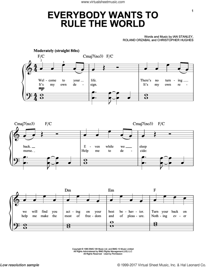 Everybody Wants To Rule The World sheet music for piano solo by Tears For Fears, Christopher Hughes, Ian Stanley and Roland Orzabal, easy skill level