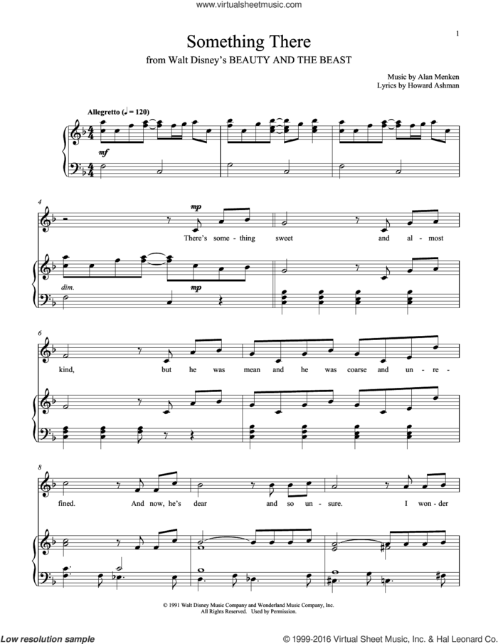 Something There (from Beauty And The Beast) sheet music for voice and piano by Alan Menken and Howard Ashman, intermediate skill level