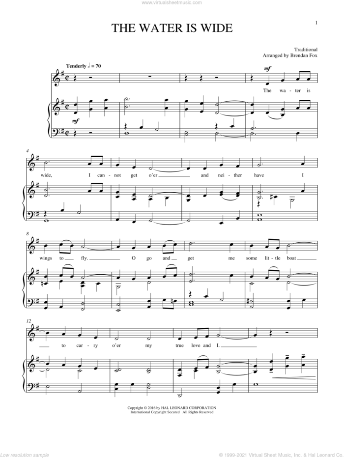 Water Is Wide sheet music for voice and piano, intermediate skill level