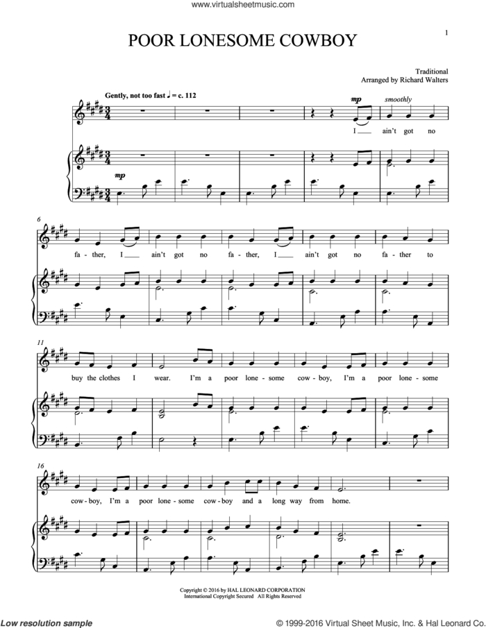 Poor Lonesome Cowboy sheet music for voice and piano, intermediate skill level