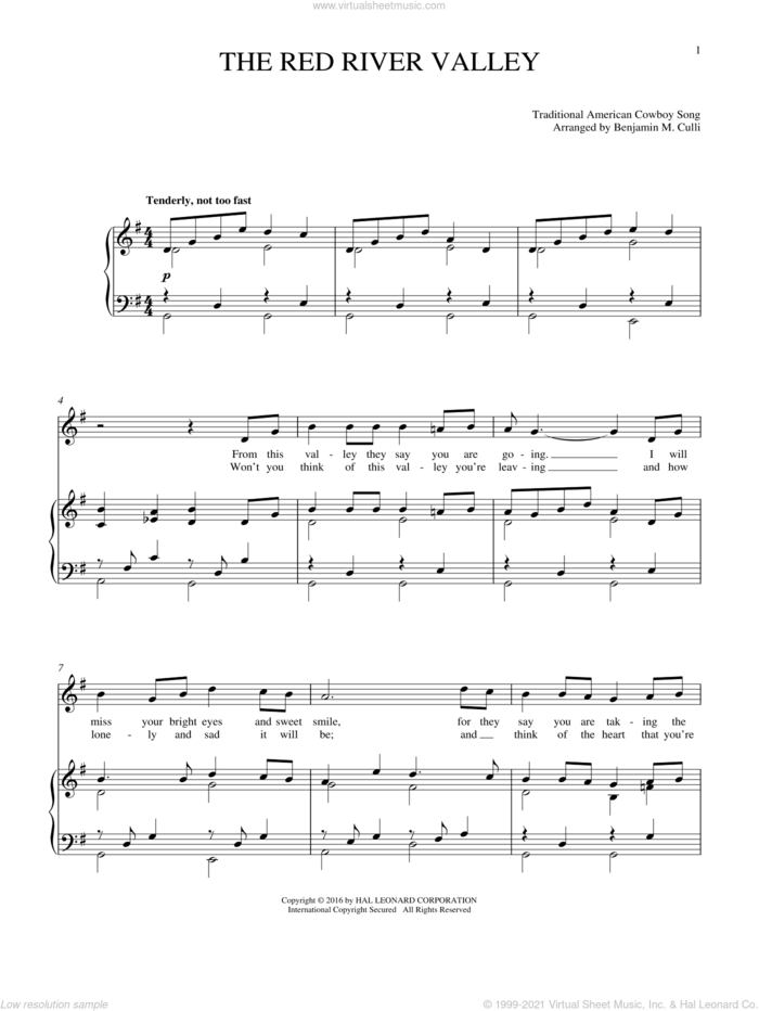 The Red River Valley sheet music for voice and piano by Traditional American Cowboy So, intermediate skill level