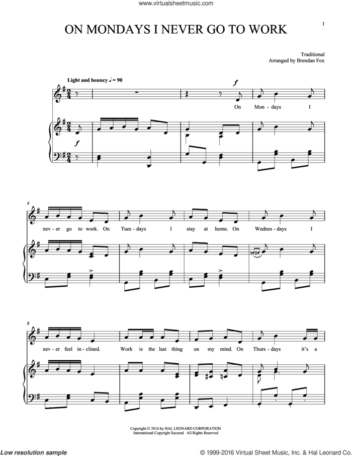 On Mondays I Never Go To Work sheet music for voice and piano, intermediate skill level