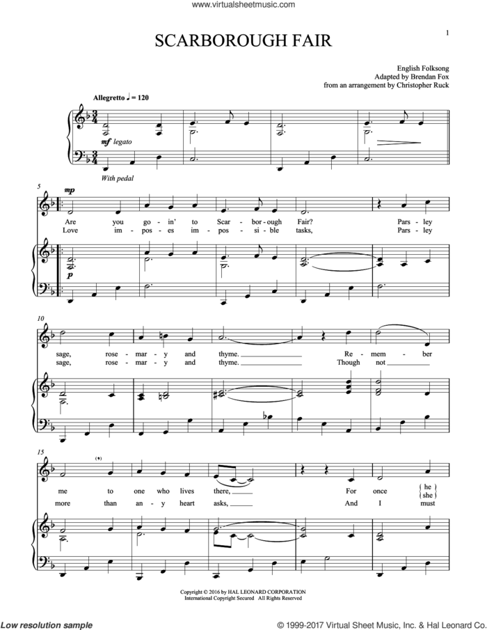Scarborough Fair sheet music for voice and piano, intermediate skill level