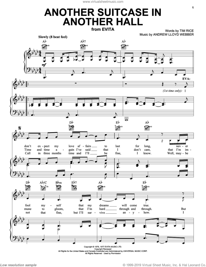 Selections from Evita (complete set of parts) sheet music for voice, piano or guitar by Andrew Lloyd Webber, Evita (Musical), Madonna and Tim Rice, intermediate skill level
