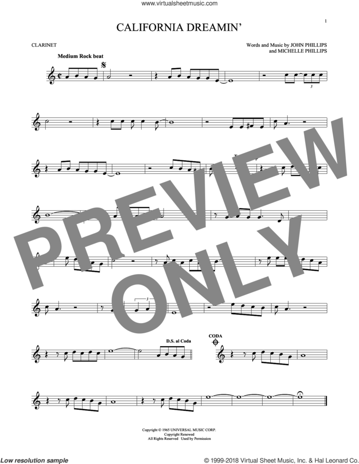 California Dreamin' sheet music for clarinet solo by The Mamas & The Papas, John Phillips and Michelle Phillips, intermediate skill level