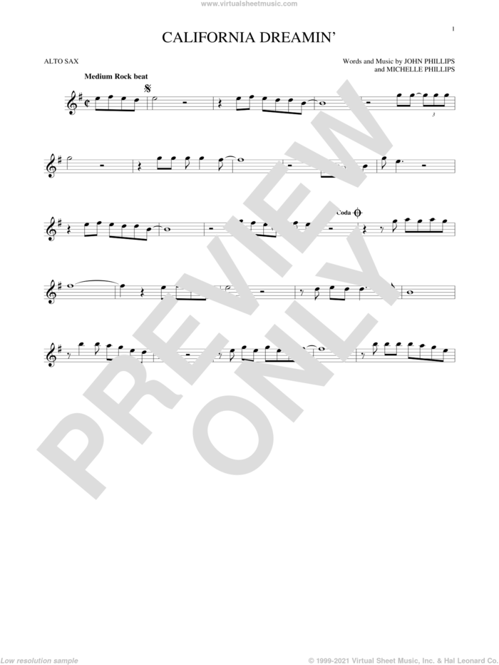 California Dreamin' sheet music for alto saxophone solo by The Mamas & The Papas, John Phillips and Michelle Phillips, intermediate skill level