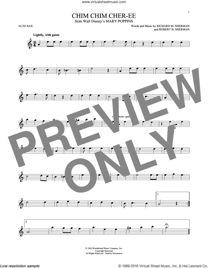 Chim Chim Cher-ee sheet music for alto saxophone solo by Richard M. Sherman, New Christy Minstrels and Robert B. Sherman, intermediate skill level