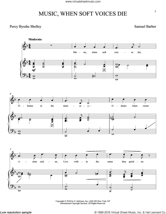 Music, When Soft Voices Die sheet music for voice and piano by Samuel Barber and Joan Frey Boytim, classical score, intermediate skill level