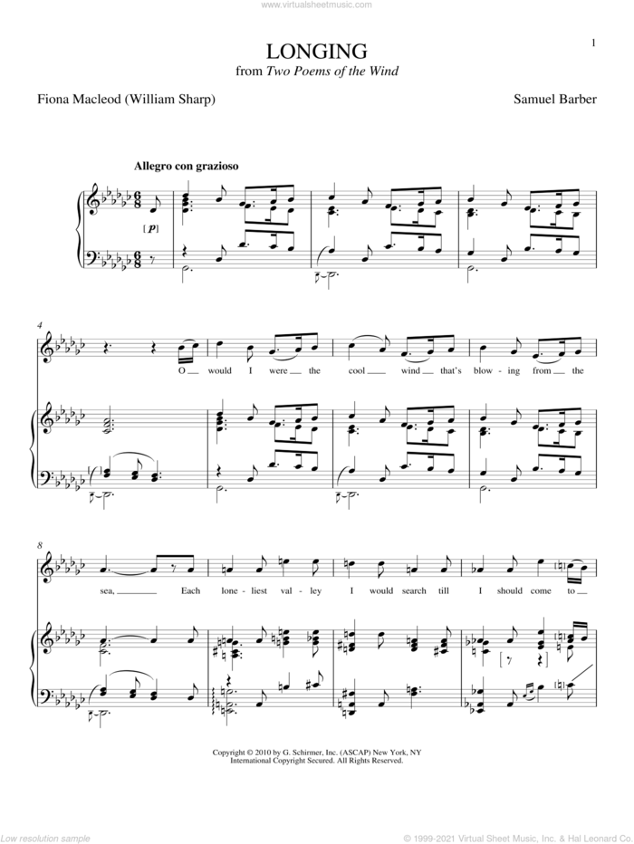 Longing sheet music for voice and piano by Samuel Barber and Joan Frey Boytim, classical score, intermediate skill level